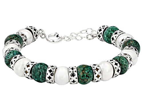 Photo of Artisan Collection Of Israel™ 10mm Peacock Rock Bead & Cultured Freshwater Pearl Silver Bracelet - Size 7