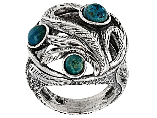 Artisan Collection Of Israel™ 4-6mm Round Cabochon Peacock Rock 3-Stone Sterling Silver Ring - Size 6