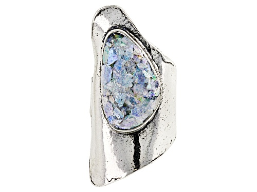 Photo of Artisan Collection Of Israel™ Fancy Shape Manmade Roman Glass Solitaire Asymmetric Silver Ring - Size 5