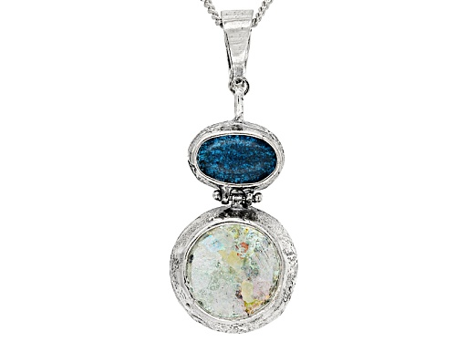 Photo of Artisan Collection Of Israel™ Man Made Roman Glass & Oval Blue Apatite Silver Enhancer With Chain
