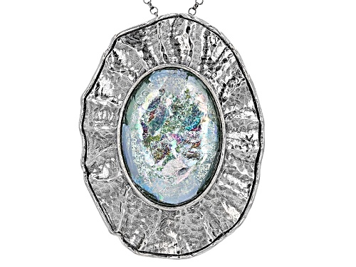 """Photo of Artisan Collection Of Israel™ 25x18mm Oval Man Made Roman Glass Silver Slide With 30"""" Chain"""