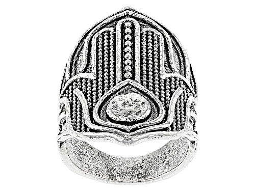 Photo of Artisan Collection Of Israel™ Oxidized Sterling Silver Hamsa Hand Ring - Size 7