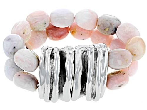 Photo of Artisan Collection Of Israel™ Mixed Shapes Pink Opal Bead Electroform Sterling Silver Bracelet - Size 8