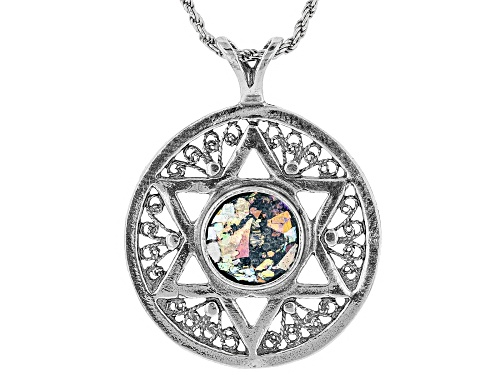 Photo of Artisan Collection Of Israel™ 10mm Man Made Roman Glass Silver Star Of David Pendant With Chain