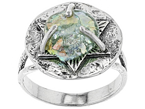 Photo of Artisan Collection Of Israel™ 11mm Round Man Made Roman Glass Silver Star Of David Ring - Size 8