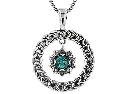 "Photo of Artisan Collection Of Israel™ 8mm Round Eilat Sterling Silver Floral Pendant With 24"" Chain"