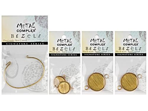 Photo of Interchangeable Antique Brass Bracelet And Antique Brass Round Earring Bezel Set