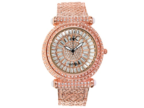 Photo of Adee Kaye Beverly Hills, Ladies White Crystal Pave Dial Rose Tone Watch