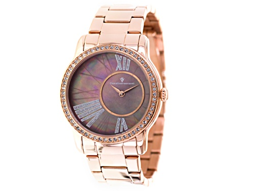 Photo of Christian Van Sant Ladies Rose Tone White Crystal Brown Mother Of Pearl Watch
