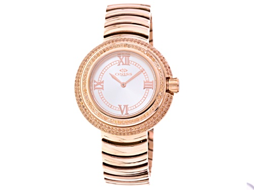 Photo of Oniss Ladies Orange Crystal Rose Tone Watch