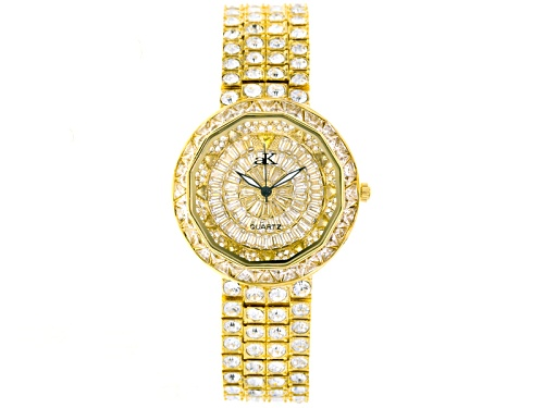 Photo of Adee Kaye Beverly Hills White Crystal Pave Dial Yellow Watch