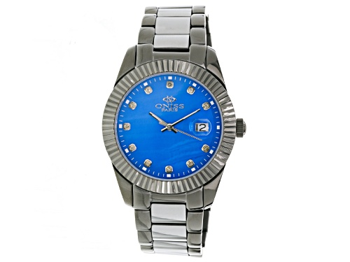 Photo of Oniss Stainless Steel And Tungsten Sapphire Mother Of Pearl Dial Gunmetal Tone Watch