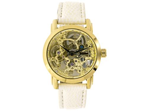 Photo of Akribos Ladies Gold Tone White Strap Automatic Skeleton Watch