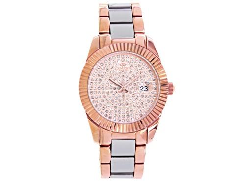 Photo of Oniss Ladies White Crystal Rose And Silver Tone Watch