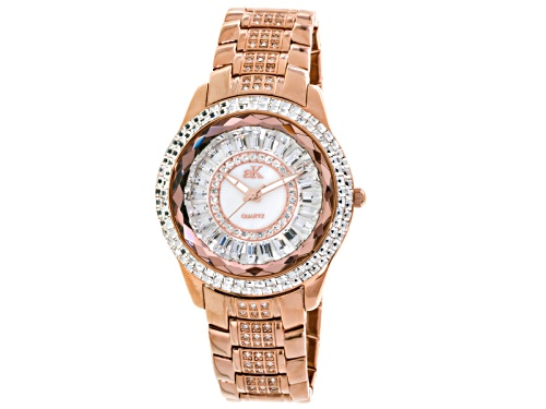 Photo of Adee Kaye Beverly Hills Ladies White Crystal Rose Tone Watch