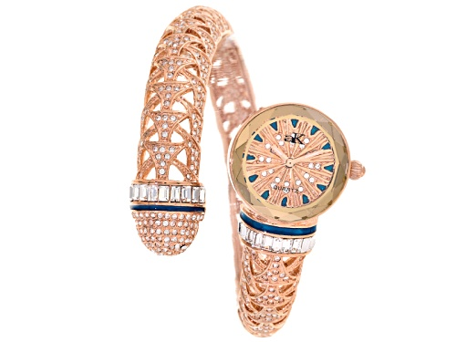 Photo of Adee Kaye Beverly Hills, Ladies White Crystal Blue Enamel Rose Tone Watch