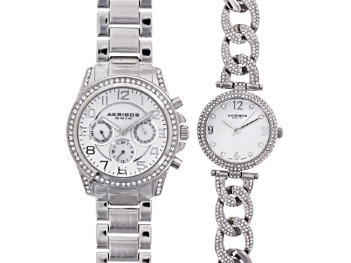 Photo of Akribos Ladies White Crystal Silver Tone Watch Set Of 2