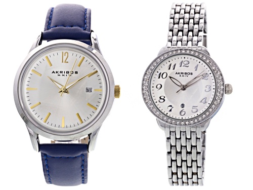 Akribos Ladies, Silver Tone Watch Set Of 2