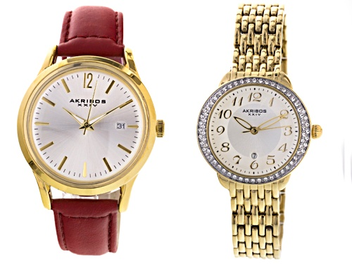 Photo of Akribos Ladies Gold Tone Watch Set Of 2
