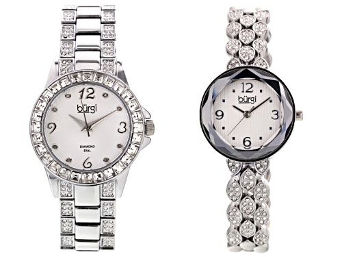 Photo of Burgi Ladies White Crystal Silver Tone Watch Set Of 2