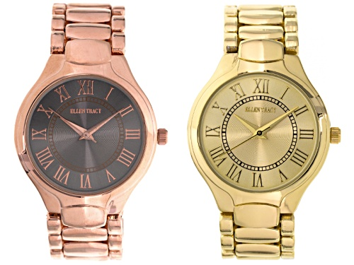 Photo of Ellen Tracy Ladies Rose Tone And Gold Tone Watch Set Of 2