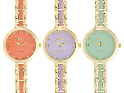 Photo of Geneva Ladies White Crystal Gold Tone Purple Green And Orange Ceramic Watch Set Of 3