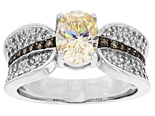 Photo of 1.96ctw Fabulite Strontium Titanate And .37ctw White Zircon And .06ctw Champagne Diamond Silver Ring - Size 12