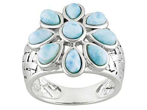 Photo of Pear Shape And Round Cabochon Larimar Sterling Silver Flower Ring - Size 5