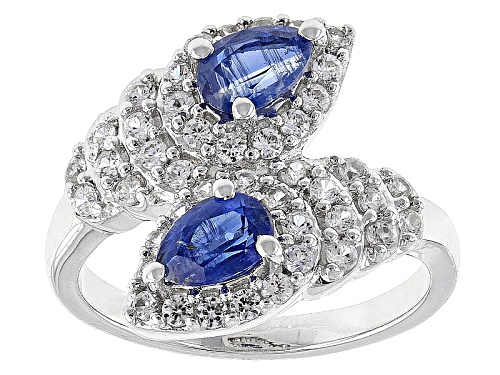 Photo of .92ctw Pear Shape Nepalese Kyanite And .86ctw Round White Zircon Sterling Silver Ring - Size 8