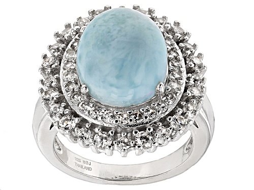 Photo of 12x10mm Oval Cabochon Larimar With 1.15ctw Round White Zircon Sterling Silver Ring - Size 5