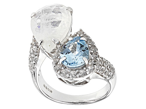 Photo of 15x10mm Pear Shape Rainbow Moonstone, 1.79ctw Glacier Topaz™, 1.53ctw White Zircon Silver Ring - Size 6