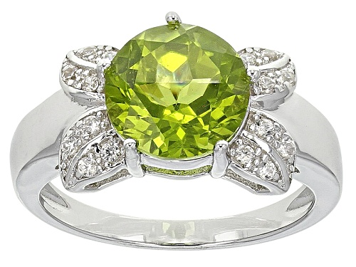 Photo of 2.55ct Round Manchurian Peridot™ And .12ctw Round White Zircon Sterling Silver Ring - Size 11