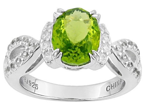 Photo of 1.75ct Oval Manchurian Peridot™ And .57ctw Round White Zircon Sterling Silver Ring - Size 10