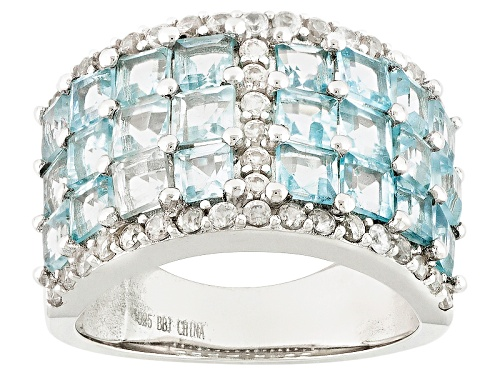 Photo of 3.55ctw Glacier Topaz™ And .76ctw Round White Zircon Sterling Silver Ring - Size 11