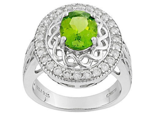 Photo of 1.48ct Oval United States Peridot With .63ctw Round White Zircon Sterling Silver Ring - Size 11