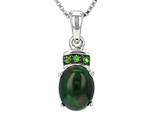 Photo of Oval Cabochon Black Ethiopian Opal With .05ctw Russian Chrome Diopside Silver Pendant With Chain