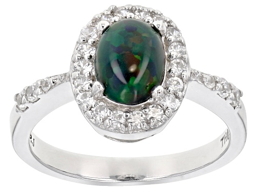 Photo of .60ct Oval Cabochon Black Ethiopian Opal With .41ctw Round White Zircon Sterling Silver Ring - Size 7