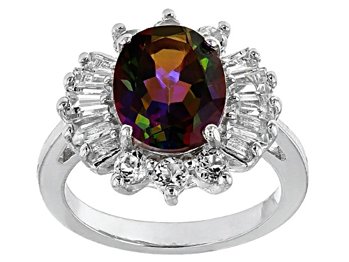 Photo of 2.69ct Oval Brazilian Cosmopolitan Beyond Mystic Topaz® With .94ctw White Topaz Silver Ring - Size 12