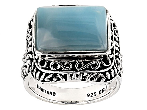 Photo of 14x10mm Rectangular Cabochon Larimar Sterling Silver Solitaire Ring - Size 5
