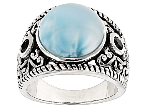 Photo of 12.5mm Round Cabochon Larimar With .23ctw Round London Blue Topaz Sterling Silver Ring - Size 5