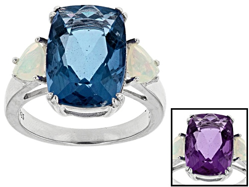 Photo of 7.50ct Cushion Color Change Blue Fluorite And .45ctw Trillion Ethiopian Opal Sterling Silver Ring - Size 5