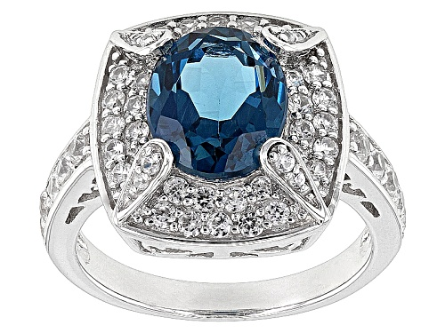Photo of 2.82ctw Oval London Blue Topaz With 1.21ctw Round White Zircon Sterling Silver Ring - Size 12