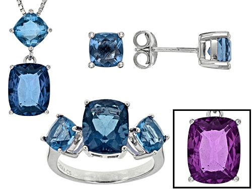 Photo of 10.18ctw Rectangular Cushion And Square Cushion Color Change Blue Fluorite Silver Jewelry Set - Size 12