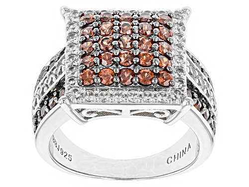 Photo of 1.53ctw Round Mocha Zircon With .87ctw Round White Zircon Sterling Silver Cluster Ring - Size 5