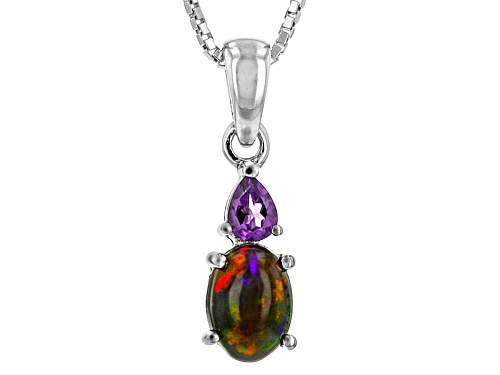 Photo of Oval Cabochon Black Ethiopian Opal And .12ct Pear Shape  African Amethyst Silver Pendant W/ Chain
