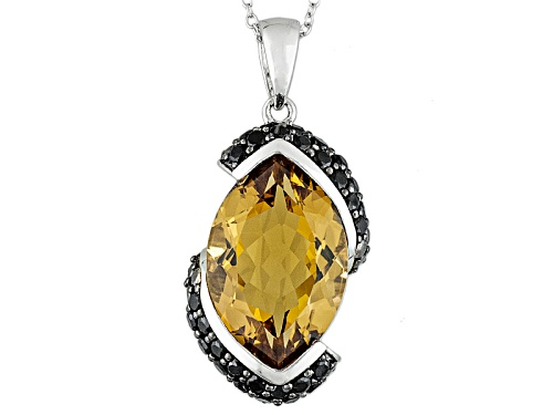 Photo of 10.20ct Marquise Champagne Quartz With 1.05ctw Round Black Spinel Sterling Silver Pendant With Chain