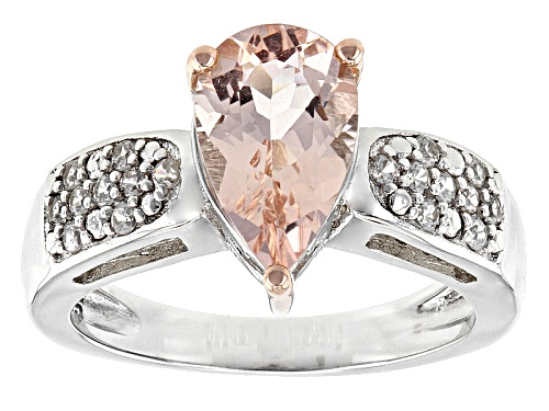 Photo of 1.06ctw Pear Shape Morganite With .13ctw Round White Zircon Sterling Silver Two Tone Ring - Size 11