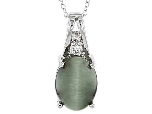 Photo of 13x10mm Oval Cats Eye Quartz With .17ctw Round White Zircon Sterling Silver Pendant With Chain