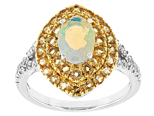 Photo of .55ct Oval Ethiopian Opal With .61ctw Round Brazilian Citrine And .21ctw Round Zircon Silver Ring - Size 9
