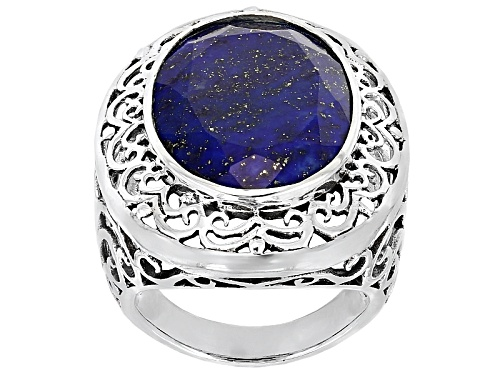 Photo of 20x15mm Oval Lapis Lazuli Sterling Silver Cocktail Ring - Size 5